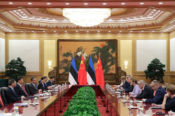 Estonia's President Kersti Kaljulaid attends a meeting with China's President Xi Jinping at The Great Hall Of The People in Beijing, China