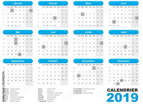Calendrier Francais 2019.Calendrier Francais 2019 Jours Feries Bleu Simple Stock