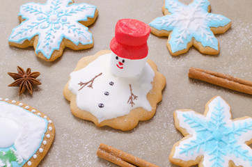 baking of christmas gingerbread like melting snowman, snowflakes and flour like snow on the baking paper