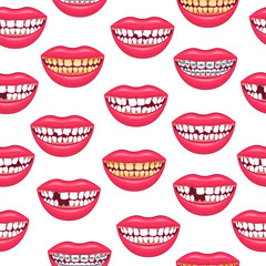 Realistic Detailed 3d Dental Problems Seamless Pattern Background. Vector