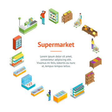 Supermarket or Shop Banner Card Circle Isometric View. Vector