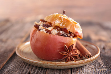 baked apple with fruit and spices