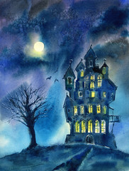Landscape of castle, tree, moon and bat.Mystical night view.Watercolor hand drawn illustration.