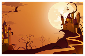 Witch flying to mysterious house vector illustration. Full moon against gothic castle, picture in orange color. Halloween concept