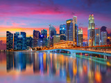 Singapore downtown city skyline landscape. Business district view