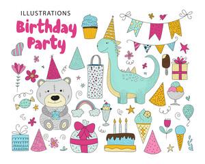 Big set of birthday party vector clip arts.