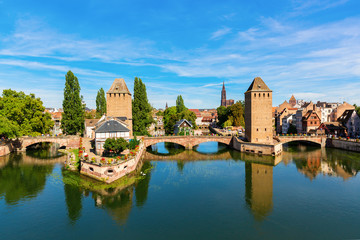 bridges Pont Couverts over the river Ill in Strasbourg, France