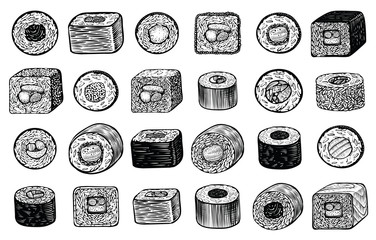 Sushi maki rolls vector hand drawn illustration, different angle of view. Japanese food.