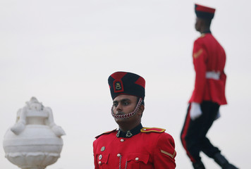 A military officer is seen with his ceremonial hat in Colombo