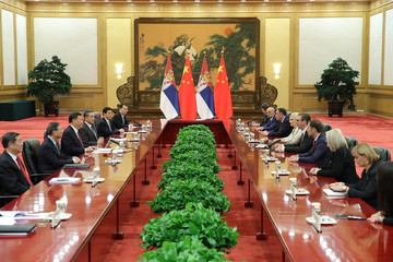 Serbia's President Aleksandar Vucic attends a meeting with China's President Xi Jinping at The Great Hall Of The People in Beijing, China