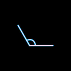 obtuse angle icon in neon style. One of geometric figure collection icon can be used for UI, UX