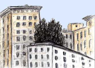 Hand drawn sketch of building. Watercolor and charcoal technique. Illustration of Houses in European Old town. Vintage travel postcard or poster of architecture. Urban sketching.