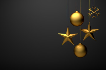 3D render of golden christmas ornamentals: Ball, star, snowflake. Copyspace available for custom text