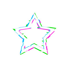 Vector Glitch White Star Isolated on White Background, Blue, Pink and Green Glitches.