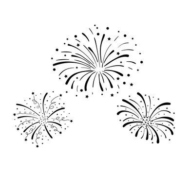 Vector Hand Drawn Doodle Fireworks, Celebration Background, Black Design Elements Isolated.