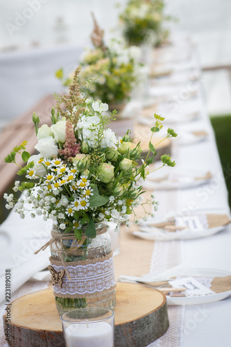 Wedding Or Birthday Reception Table Decoration With Fresh Flowers