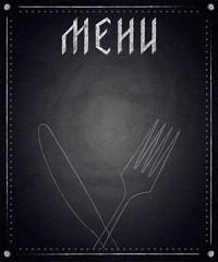Menu of restaurant on black chalkboard background