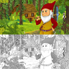 cartoon scene with man fantasy dwarf in the forest near hidden wooden house - with artistic coloring page - illustration for children