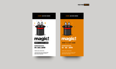 Gift Card Magic Hat with Bunny Ears Vector Illustration
