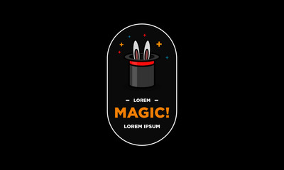 Magic Hat with Bunny Ears Vector Illustration Badge Sticker Design