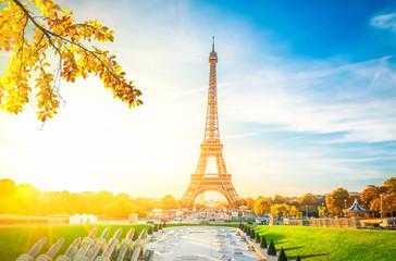 Eiffel Tower from Trocadero at fall sunrise, Paris, France, retro toned