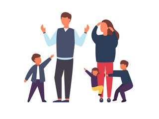 Family with kids. Busy and tired parents with naughty children. Vector illustration