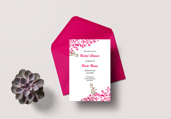 Pink Bridal Shower Invitation Layout