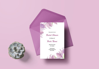 Bridal Shower Invitation Layout with Purple Flowers