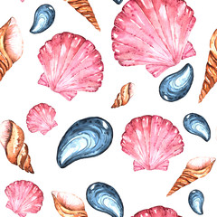 Watercolor Bright Paterrn with Different Sea Shells