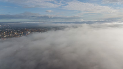 Riga Latvia Daugava river Zakusala island smoke cloud island Aerial drone top view