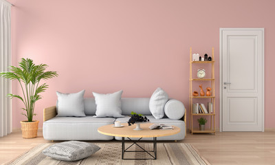 grey sofa and pillow in pink living room, 3D rendering