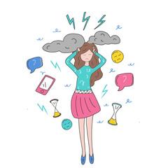 girl in stress. on work vector