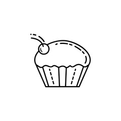 cup cake with cherry dusk style icon. Element of birthday party in dusk style icon for mobile concept and web apps. Thin line cup cake with cherry icon can be used for web