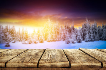 wooden table winter