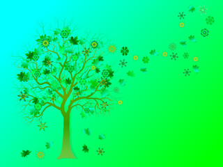 Spring background with colorful tree and  falling leaves on green background.  Elegant design with copy space. Vector and raster format available.
