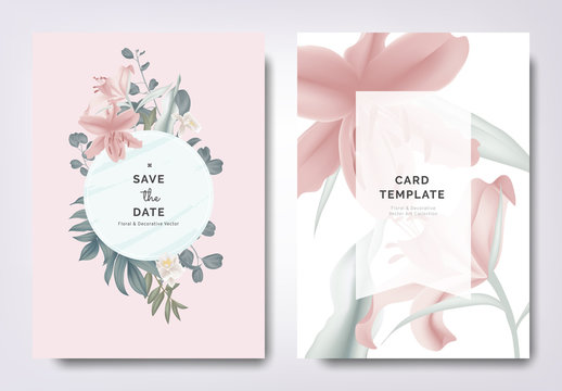 Botanical wedding invitation card template design, pink lily flowers and leaves with circle frame on pink background, vintage style