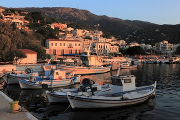 beautifull greek village with fishing boats at the port in Agios Kirikos on Ikaria Island, Sporades Greece