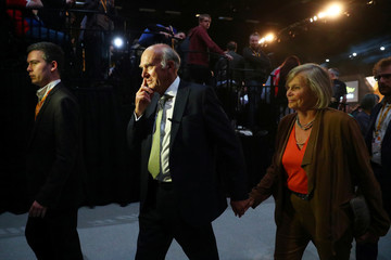 The leader of the Liberal Democrats, Vince Cable, leaves with his wife Rachel after addressing his party's annual conference in Brighton
