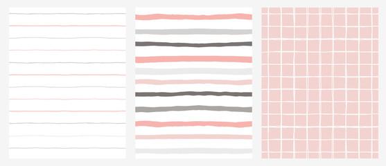 Set of 3 Hand Drawn Irregular Geometric Patterns. Horizontal Gray and Pink Stripes on a White Background. White Grid on A Pink Background. Infantile Style Design.