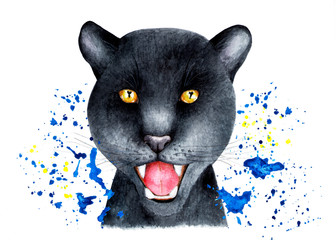 Portrait of a Panther in a spray of water. Watercolor illustration. Portrait of a black Panther in a spray of watercolor. Illustration for printing on t-shirts, fabrics, magazines about animals.
