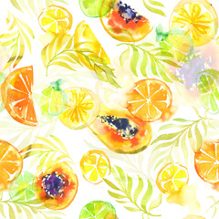 Seamless pattern with abstract tropical fruits. Watercolor stains and shapes. Bright summer colors of mango and citrus fruits.