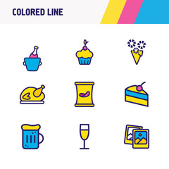 Vector illustration of 9 celebration icons colored line. Editable set of wine bottle, beer mug, polaroid pics and other icon elements.