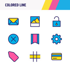 Vector illustration of 9 app icons colored line. Editable set of cog, tag, bookmark and other icon elements.