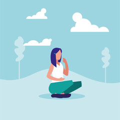 young woman sitting in landscape avatar character