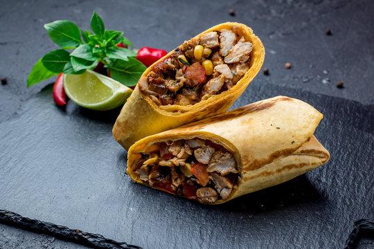 Mexican chicken burrito