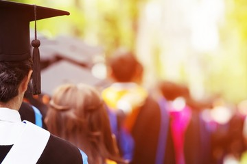 shot of graduation hats during commencement success graduates of the university, Concept education congratulation. Graduation Ceremony ,Congratulation the graduates in University. soft focus