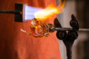 The process of glass making sculptures
