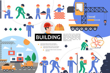 Flat Building Infographic Template