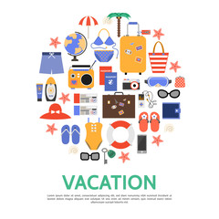 Flat Beach Vacation Concept