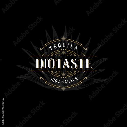 Vector Vintage Frame For Logo Label Design Ornate Template Tequila Whiskey